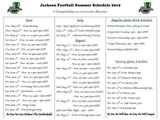 2019 Updated Spring/Summer Schedule