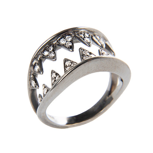 """Baby shark """"killing me softly""""ring, made in 18ct blackened gold and diamonds"""