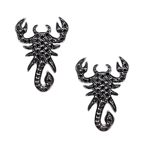 Large Black Diamonds Scorpion Earrings