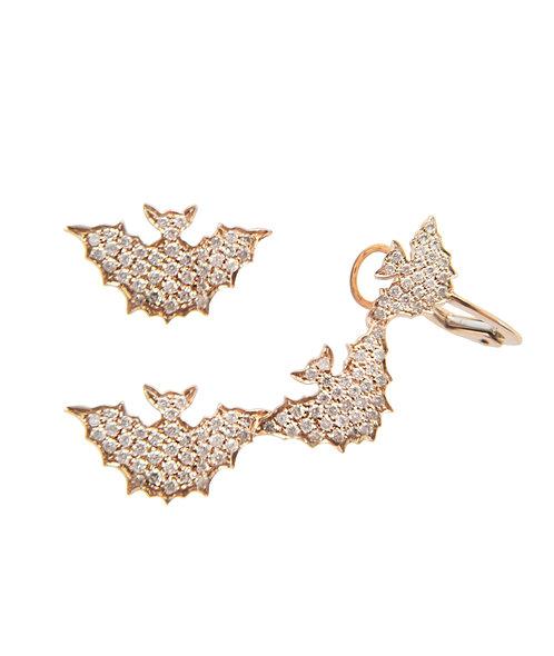 Yellow Gold Bats Ear Cuffs