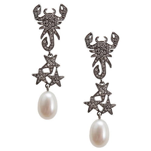 Blackened Gold, Diamonds, and Pearls Scorpions Earrings