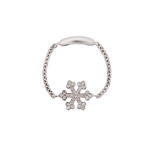 White Gold and Diamonds Snowflake Ring