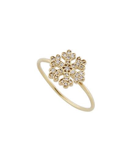 Mini Yellow Gold Snowflake ring