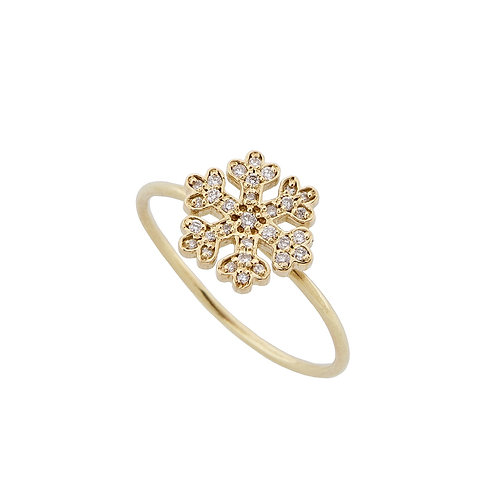 Mini Yellow Gold Snowflake Ring