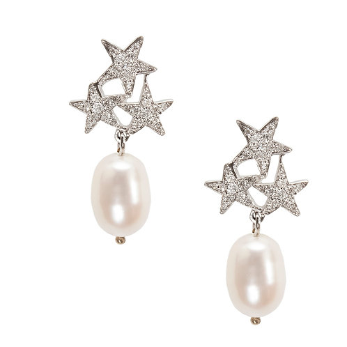 Three Stars white diamond Earring