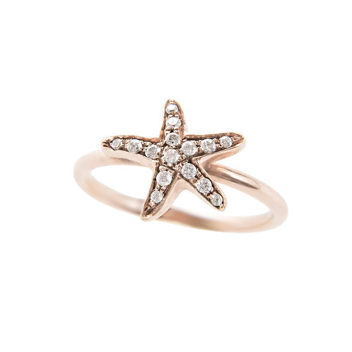 Rose Gold and White Diamonds Star Ring