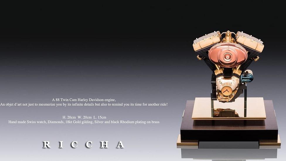 Riccha luxury handmade harley Davidson engine clock made with gold and diamonds