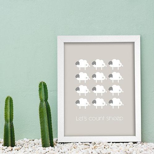 Sleeping Sheep Poster & Frame