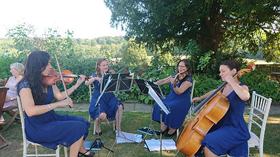 South Downs Strings quartet playing at a wedding reception and garden party