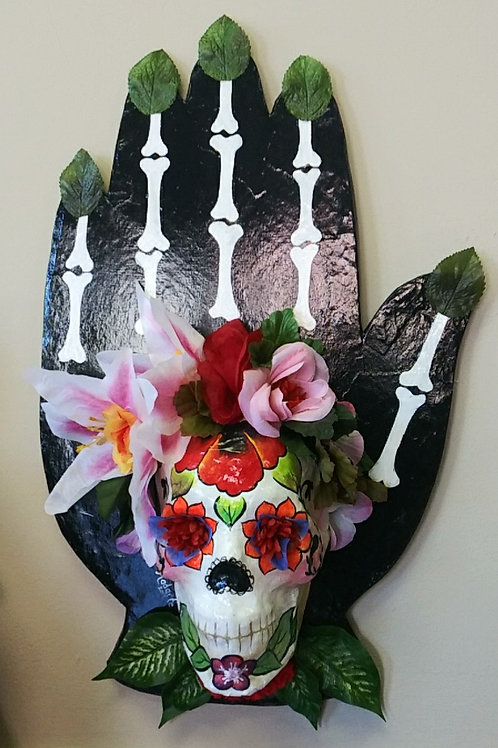 Day of the dead hand with 3D skull, black