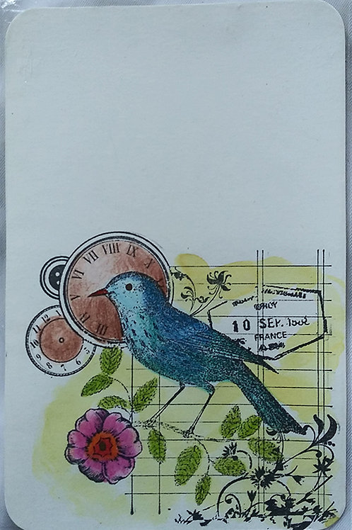 """Poetic bird"" postcard"