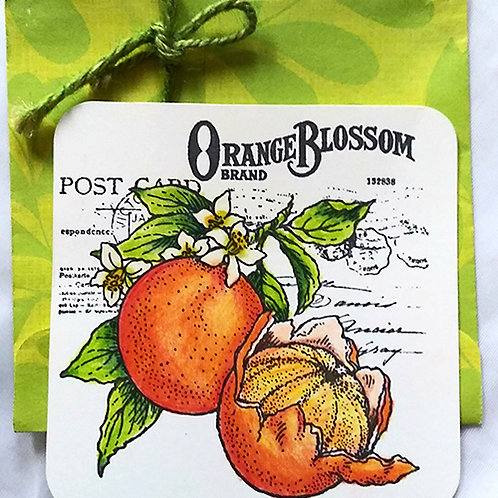 Orange postcard w/ envelope