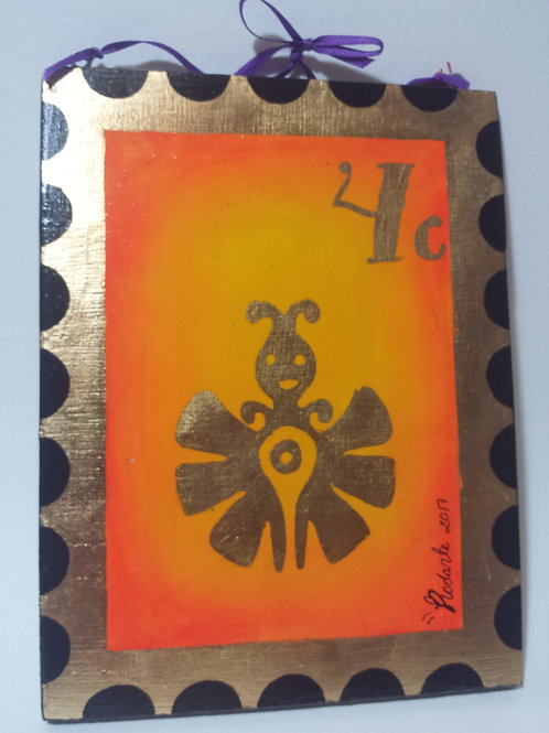 """""""Papalotl"""" Aztec butterfly stamp (plaque)"""