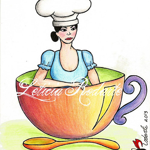 """Chef in a cup"" illustartion"