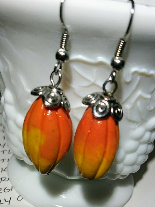 Earrings, cacao pods