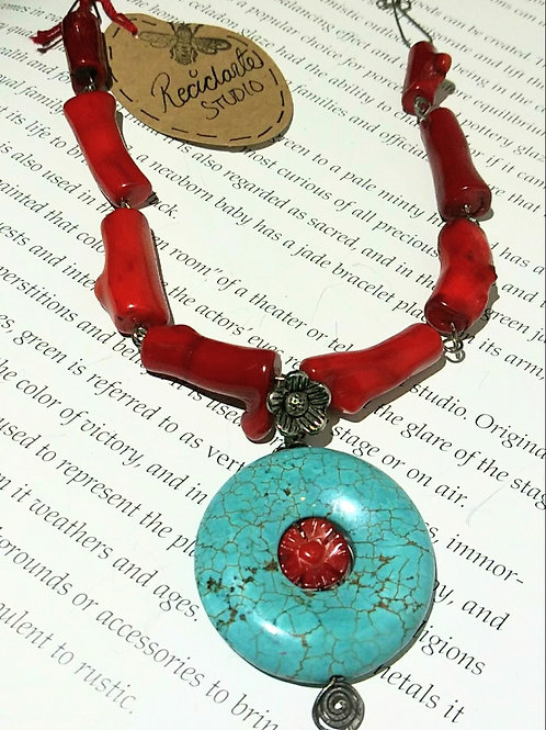 Necklace, turquoise donut with red flower