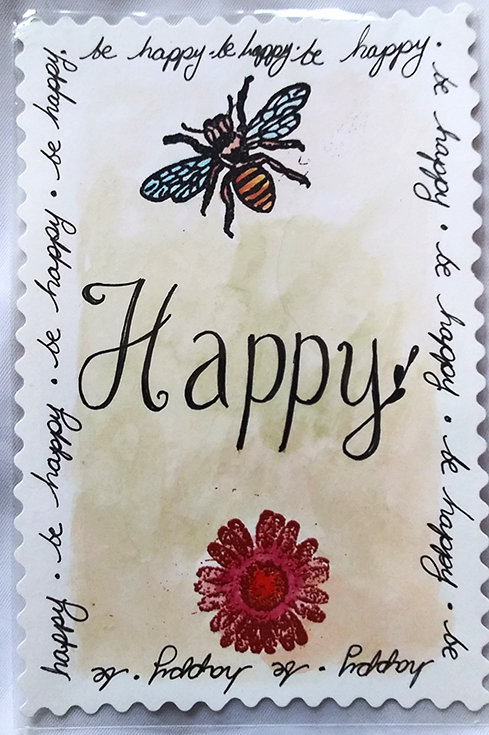 """Bee happy"" postcard"