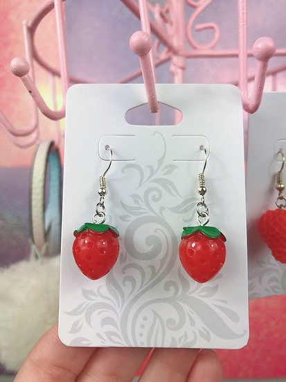 Strawberry Kawaii Dangle Hook Earrings