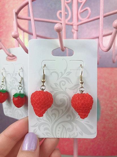 Realistic Strawberry Dangle Hook Earrings