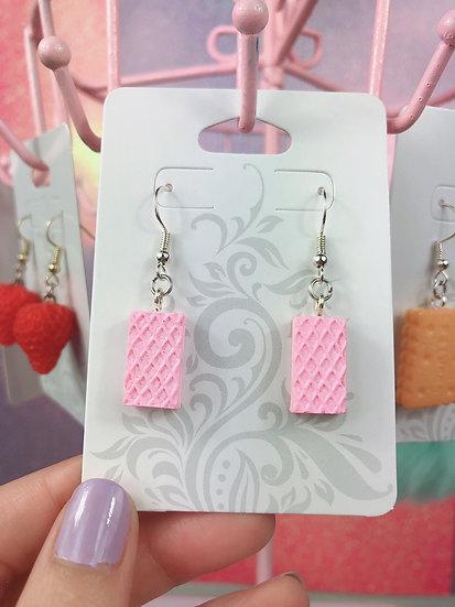 Pink Cute Wafer Cookie Dangle Hook Earrings