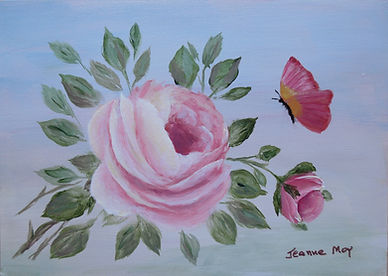 Pink Rose with bud and butterfly painting