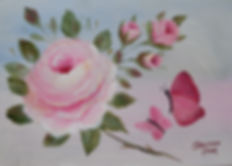 Pink Rose and butterflies paintig
