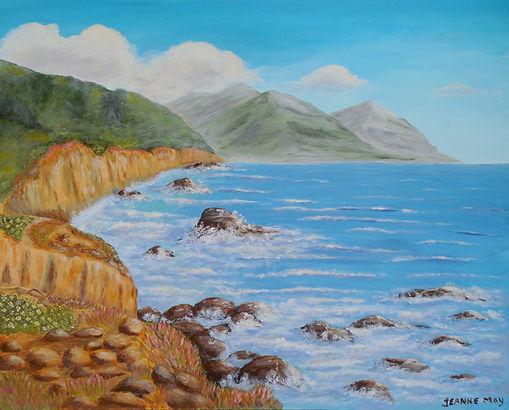 California Coast Painting with ocean