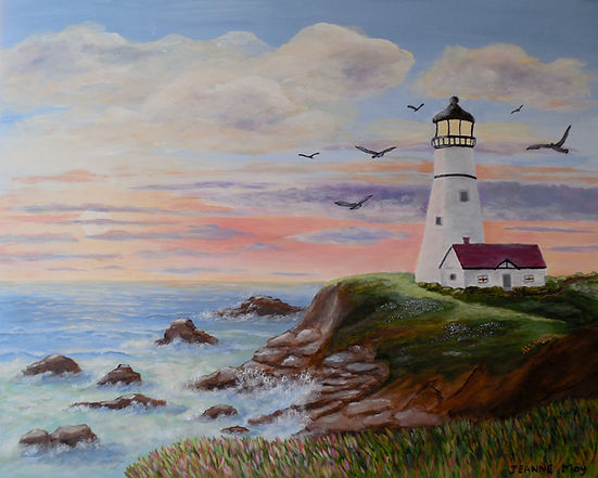 Coastal Lighthouse painting sunset