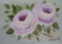 White and lavender roses painting