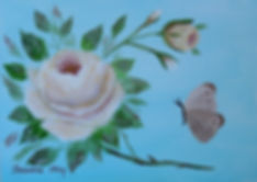 Yellow Rose and butterfly painting