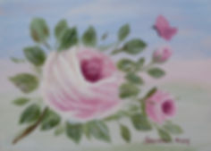 Pink shbby rose and butterfly painting