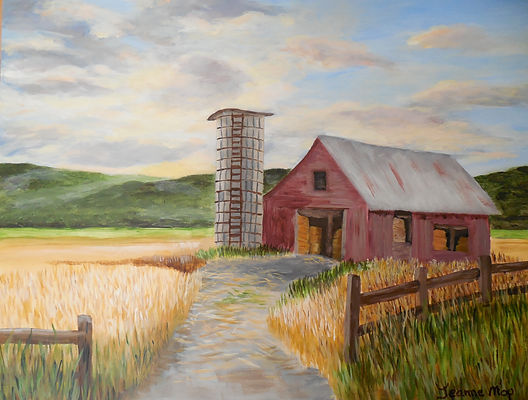 Barn and Silo sunset painting