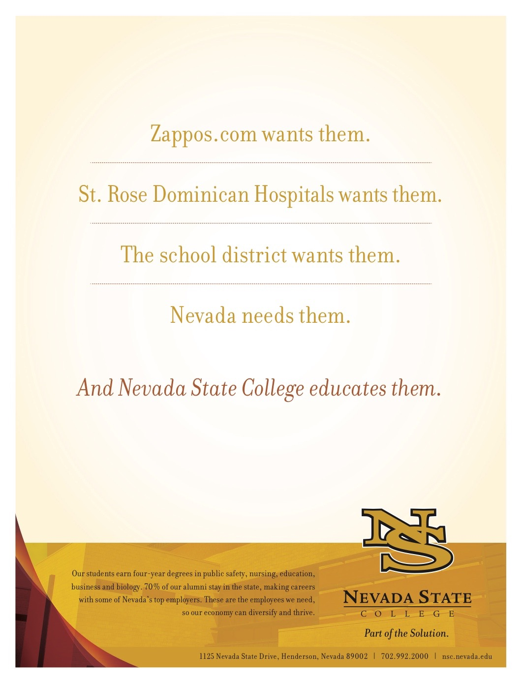 Nevada State College Small Biz Ad