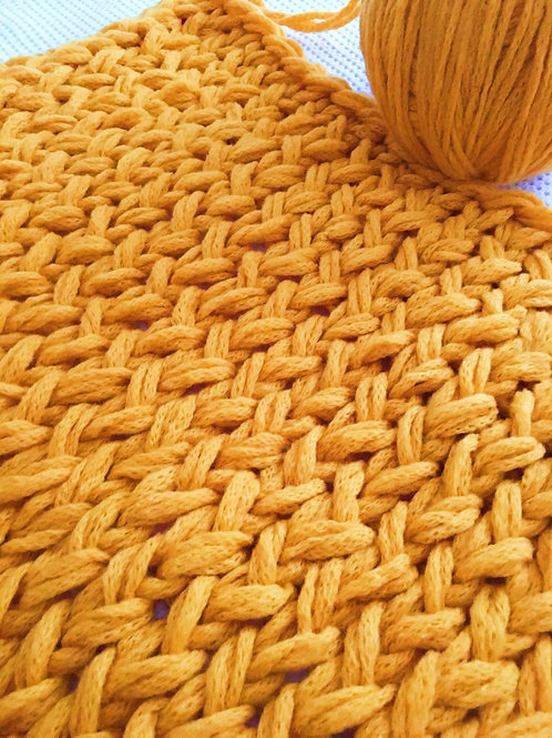 Mustard Chunky Knit Blanket