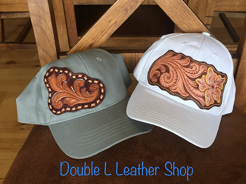 Ball cap with floral carved leather patch