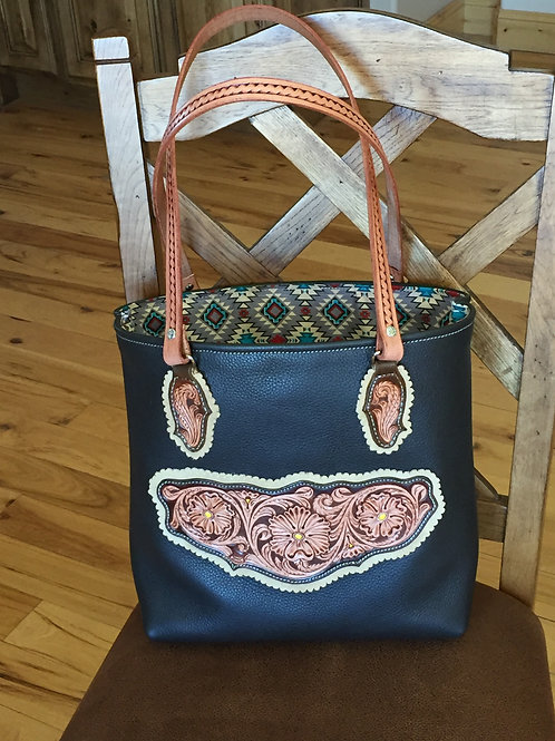 Western Tooled Leather Tote Bag