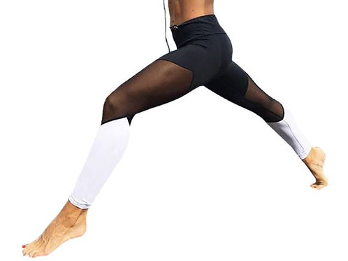 Black and White Mesh Yoga Tights