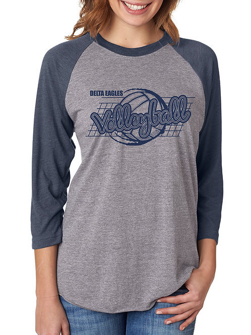 DMS Volleyball Unisex TriBlend Baseball Tee