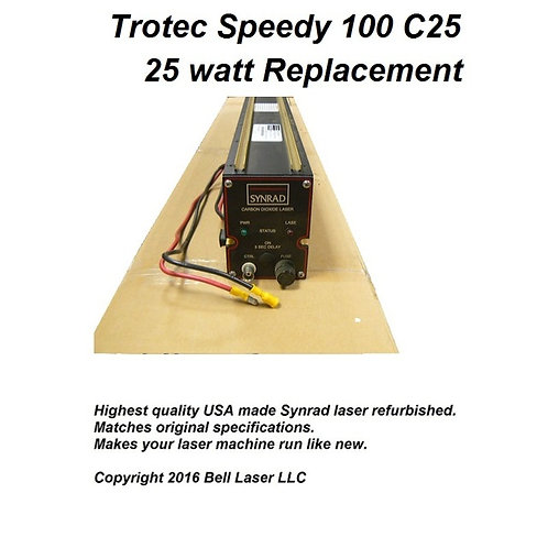 Replacement laser for TROTEC SPEEDY 100 C25 25 watt laser engraving machines. In