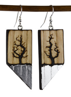 Lichtenberg tree earrings with silver le