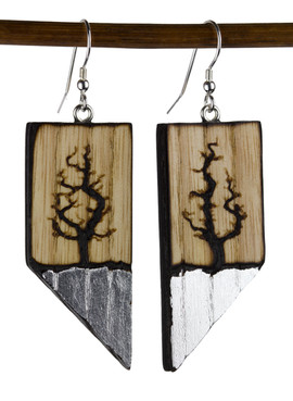 Lichtenberg tree earrings with silver le