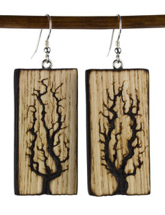 Large Lichtenberg Tree Woodburned Earrin