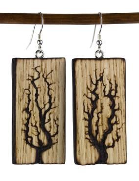 Large Lichtenberg Tree Woodburned Earrin