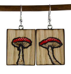 Electrically woodburned mushroom earring