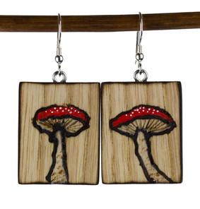 Electrically woodburned mushroom earring