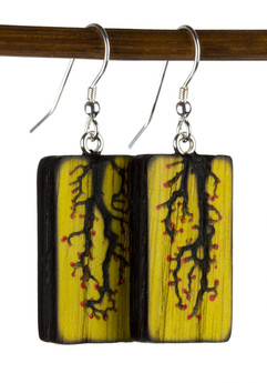 Yellow Painted Lichtenberg Vine Earrings