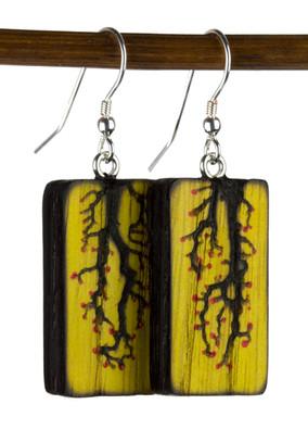 Yellow Painted Lichtenberg Vine Earrings