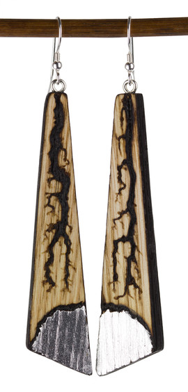 Electrical Burn Earrings with Silver Lea