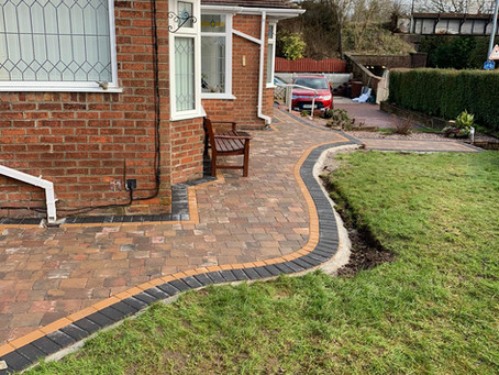 A successful block paved path laid for a happy customer.