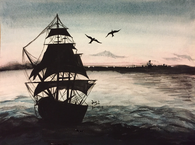 water-colour painting of a ship in the see in sunset